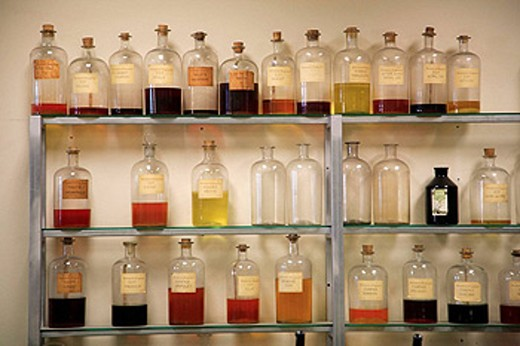 Stock Photo: 1566-402107 Street scene, Fragonard perfume factory, laboratory. Grasse. Provence. France.