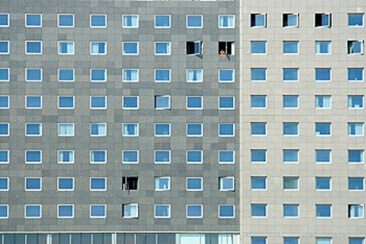 Windows. Barcelona. Building in zona Forum-Diagonal Mar. Barcelona. Catalunya. Spain. : Stock Photo