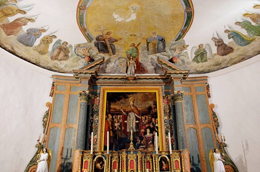 High altar (17th century). Saint Eutrope parish church. Les Portes Village. Island of Ré. Atlantic coast. Charente-Maritime. France. : Stock Photo