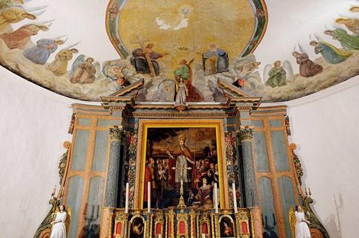 Stock Photo: 1566-403189 High altar (17th century). Saint Eutrope parish church. Les Portes Village. Island of Ré. Atlantic coast. Charente-Maritime. France.