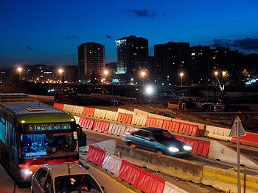Traffic jam and Construction Work in Madrid, mess caused by the proyect of the M-30 belt, road that will go all around the Spanish capital. This shot was taken at the Principe Pio area. : Stock Photo