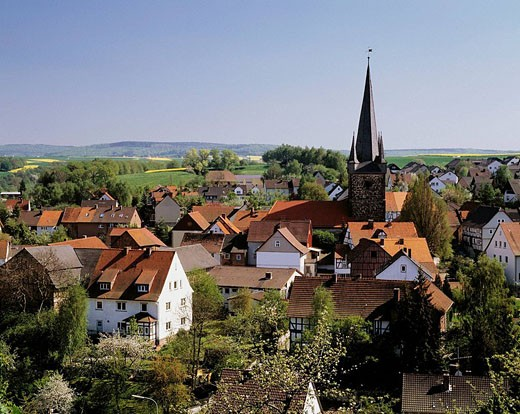 Stock Photo: 1566-404809 Germany, Edermuende, Eder, Fulda, Langen mountains, Hessian mountainous country, Schwalm-Eder district, Hesse, Edermuende-Grifte, panoramic view of Grifte with its Late Gothic church tower, former defence tower