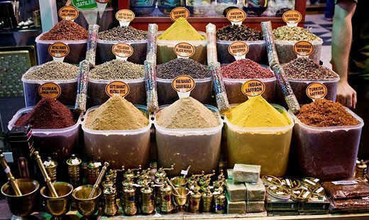 Spices in the Misir Carsisi (Egyptian bazaar). Istanbul. Turkey. : Stock Photo