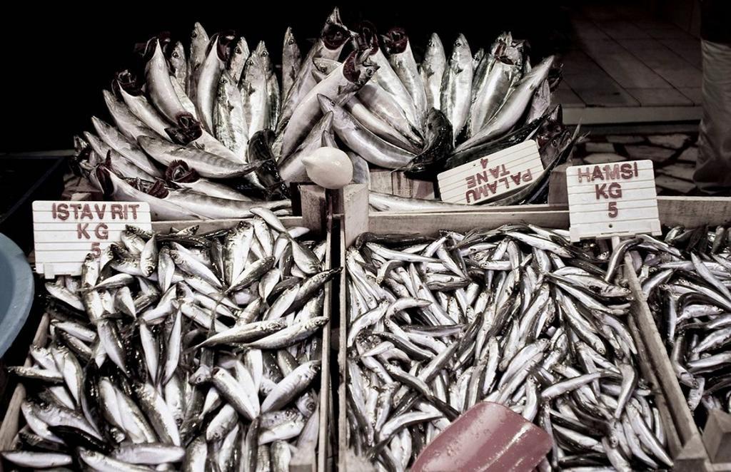 Fish selling next to the Misir Carsisi (Egyptian bazaar). Istanbul. Turkey. : Stock Photo