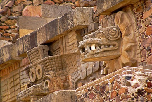 Stock Photo: 1566-406254 Quetzalcoatl (Feathered Serpent) and Tlaloc (god of rain) sculptures. Temple of Quetzalcoatl (250-300). Teotihuacán. Mexico.
