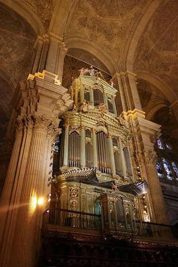 Organ in the Cathedral, Malaga, Andalusia, Spain. : Stock Photo