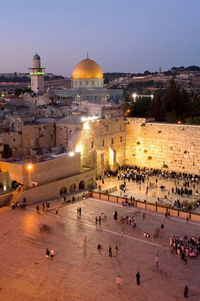 The Western Wall of Jerusalem with the dome of the rock in the background, Israel : Stock Photo