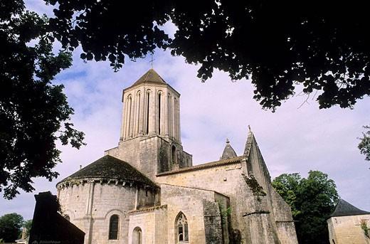 The Notre Dame Church. City of Surgères. Charente Maritime. Poitou-Charentes. France. : Stock Photo