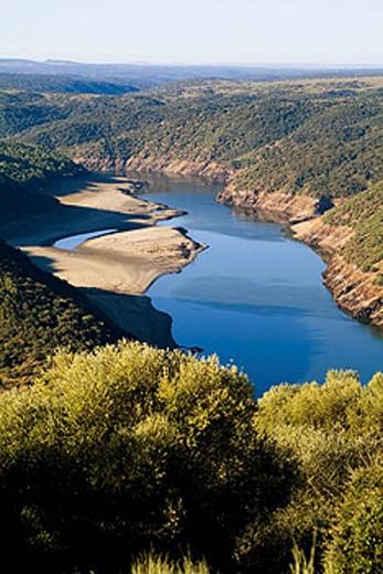 Tagus River. Monfrague Natural Park (Biosphere Reserve). Cáceres province. Extremadura, Spain : Stock Photo