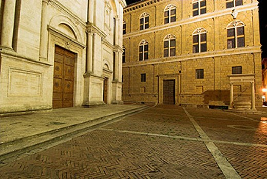 Pienza, Piazza Pio II, Renaissance front of the cathedral, Palazzo Piccolomini, pavement, Tuscany, Italy : Stock Photo