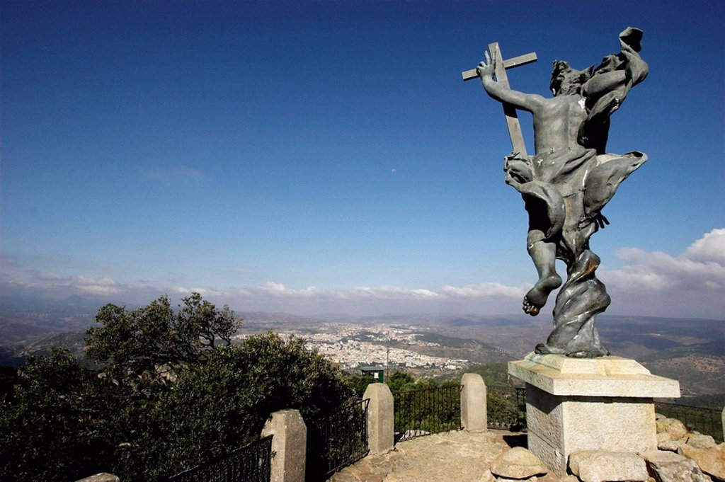 Statue of Christ Redemptor in Mount Ortobene, Nuoro. Sardinia, Italy : Stock Photo