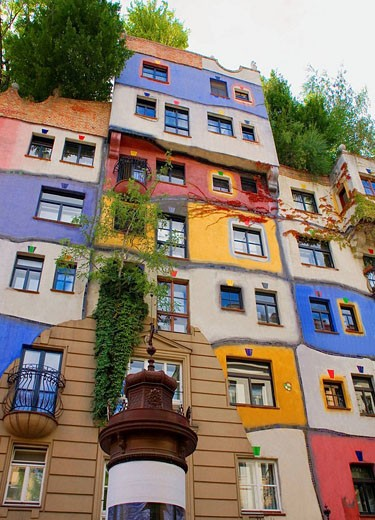 Austria, Vienna, Hundertwasser Haus : Stock Photo