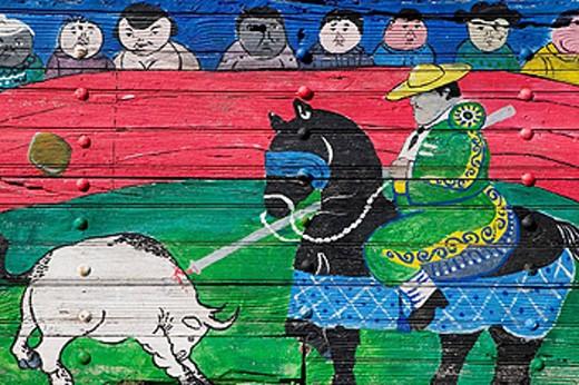 MEXICO-Guanajuato State-Rancho Viejo: Rancho Viejo Arts Market- Mexican Mural : Stock Photo