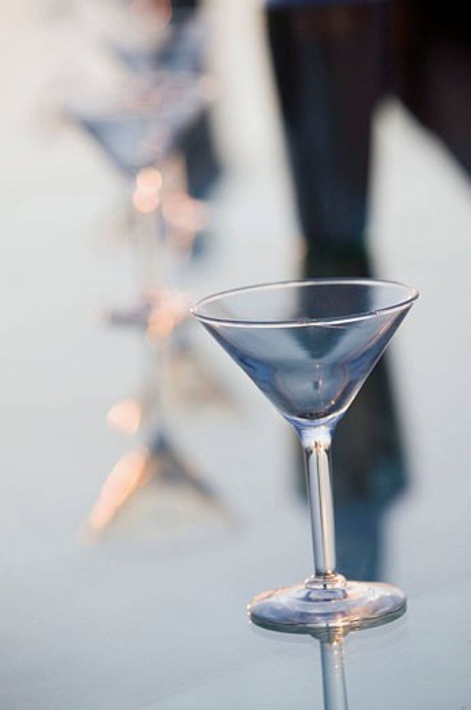 Stock Photo: 1566-413639 MEXICO-Pacific Coast-GUERRERO-Ixtapa: Playa del Palmar / Beachside Bar Cocktail Glass / Dusk