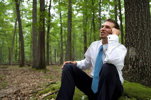 Portrait of young businessman sitting in forest : Stock Photo