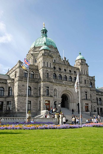 Parliament Buildings Legislative Assembly Victoria British Columbia BC Canada government law rules building neo-baroque design architect Francis Rattenbury : Stock Photo