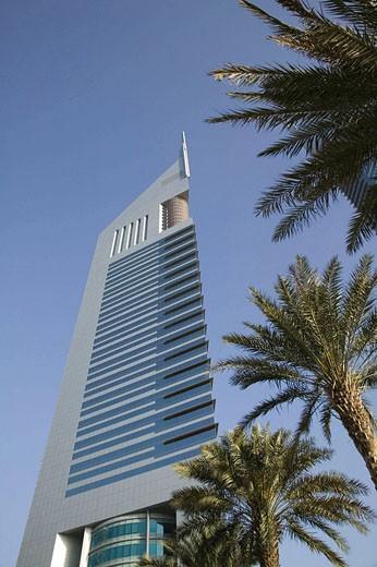 Stock Photo: 1566-414952 UNITED ARAB EMIRATES (UAE)-DUBAI-Sheikh Zayed Road Area: Emirates Towers / Morning