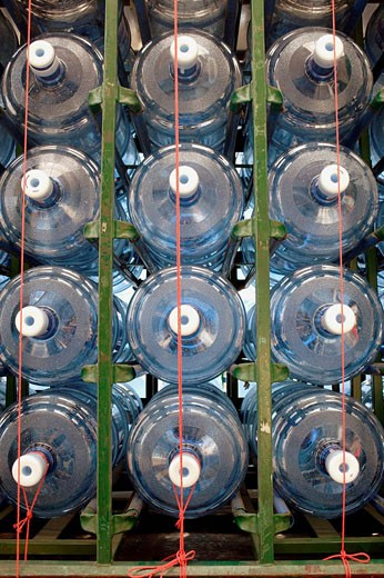 Empty water cooler bottles on a truck in Hong Kong Island, Hong Kong, PR China, East Asia : Stock Photo
