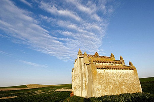 Old dovecote in Villafafila Lagoon. Zamora province, Castilla-León, Spain. : Stock Photo