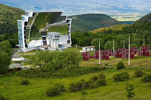 France. Pyrenees Mountains. French Cerdagne. Odeillo. Solar furnace. : Stock Photo