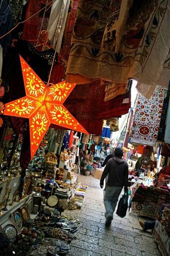 Souk (Arabic market) in the Palestinian area of Jerusalem. Israel : Stock Photo