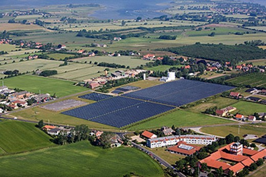 Solar plant. Ærø island. Denmark. : Stock Photo