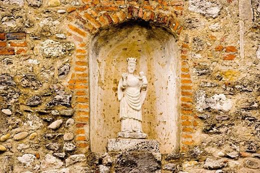 Eglise (fortess church) de Sainte Marie Madeleine, particular of the façade. Dombes. Ain. France. : Stock Photo