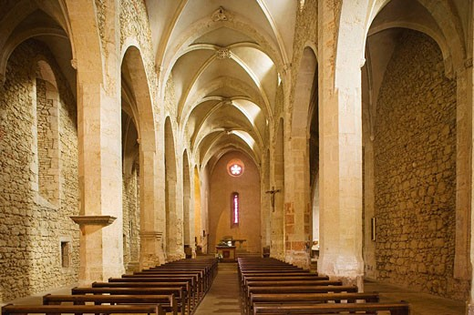 Eglise (fortess church) de Sainte Marie Madeleine, the interior. Dombes. Ain. France. : Stock Photo