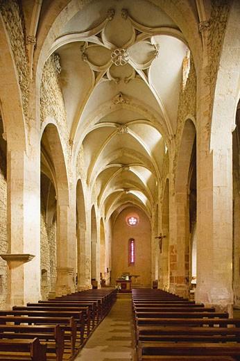 Stock Photo: 1566-416238 Eglise (fortess church) de Sainte Marie Madeleine, the interior. Dombes. Ain. France.