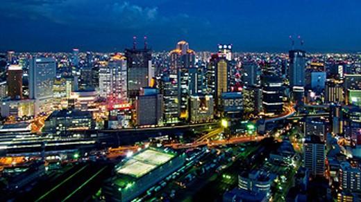 Stock Photo: 1566-416444 Overview of Osaka at Night. Osaka. Japan.