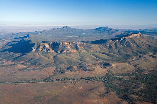 Stock Photo: 1566-416611 Wilpena Pound, Flinders Ranges, South Australia, Australia - aerial