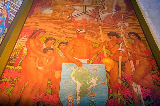 Stock Photo: 1566-418187 PANAMA CANAL MURAL. ROOSEVELT ROTUNDA. AMERICAN MUSEUM OF NATURAL HISTORY. MANHATTAN. NEW YORK. USA