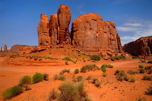 Stock Photo: 1566-419166 Butte rock formation, Monument Valley. Arizona, USA