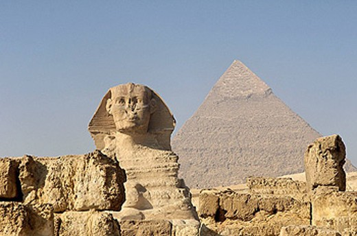 The Great Sphinx. Giza pyramid complex.  Egypt. : Stock Photo