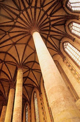 Stock Photo: 1566-419845 Vaults warheads star ending with radiation ribs of the huge and famous ´palm des Jacobins.´ L'Ensemble Conventuel des Jacobins, jewel of languedocian Gothic art. City of Toulouse. Haute-Garonne department. Midi Pyrénées region. France.