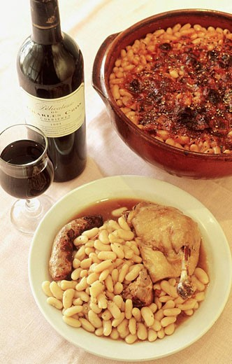 Cassoulet (meat and haricot stew) of Castelnaudary. Aude department. Languedoc-Roussillon Region. France. : Stock Photo
