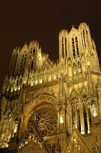 Stock Photo: 1566-420603 Reims Cathedral, Champagne, France