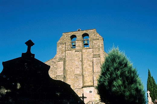 La Sauve Abbey church. Gironde department. Aquitaine Region. France. : Stock Photo