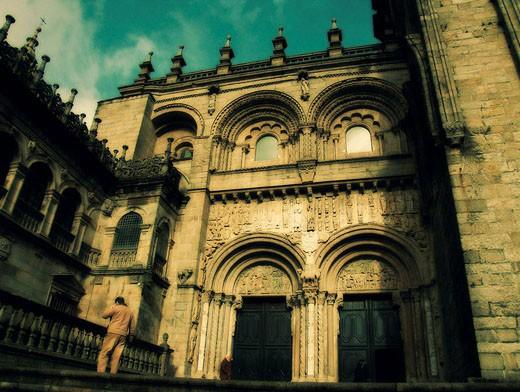 Puerta de Platerías, Romanesque front of cathedral, Santiago de Compostela. A Coruña province, Galicia, Spain : Stock Photo
