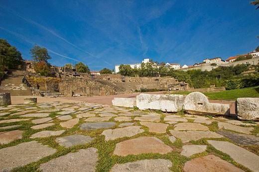 Ancient Roman street and theater, Lyon. Rhône-Alpes, France : Stock Photo