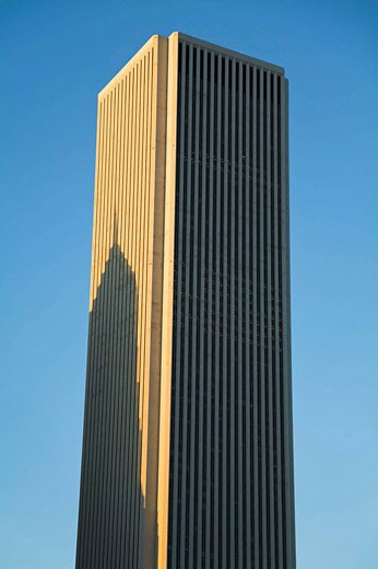 Stock Photo: 1566-422557 Prudential building cast shadow on Standard Oil building in late afternoon, shadow on side of skyscraper, Chicago  Illinois, USA