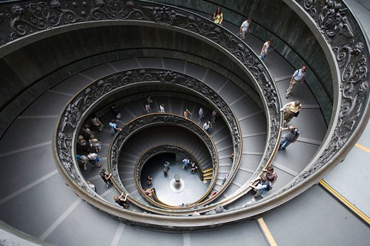 Stock Photo: 1566-422902 Main staircase, Musei Vaticani, Rome, Italy