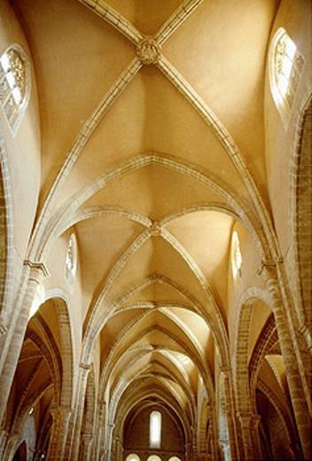 Stock Photo: 1566-423786 Ribbed vault, Monastery of Rueda, Escatrón, Zaragoza province, Aragón, Spain