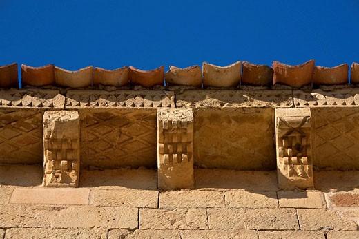 Architectural detail, Romanesque chapel of San Frutos in Hoces del Duratón Natural Park. Segovia province, Castilla-Leon, Spain : Stock Photo