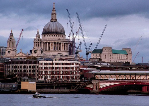 St. Paul´s cathedral and harbour cranes, London. England, UK : Stock Photo