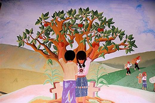 Mural painting, Chichicastenango. Guatemala : Stock Photo
