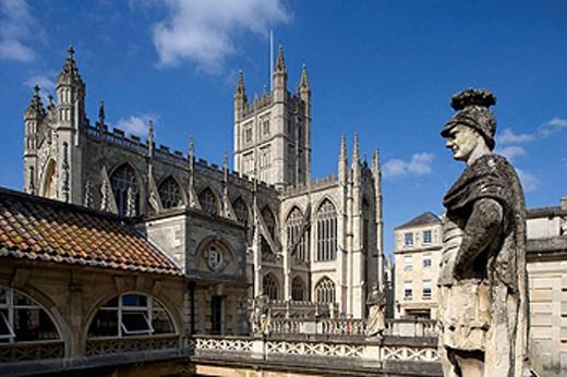 Stock Photo: 1566-426705 Bath,The Great Roman Bath, Abbey Church,1499, by Bishop King, Somerset, UK