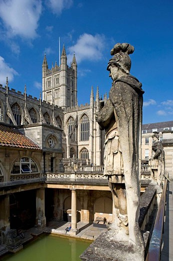 Bath,The Great Roman Bath, Abbey Church,1499, by Bishop King, Somerset, UK : Stock Photo
