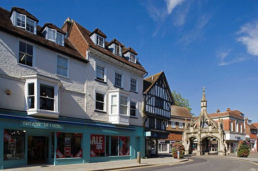 Stock Photo: 1566-426837 Salisbury, (Market Square,Poultry Cross,15th century) Wiltshire, UK.