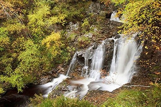 Waterfall on Highland stream in autumn  Cairngorms National Park, Scotland  October 2006 : Stock Photo